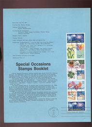 USPS Souvenir Page 87-13   2267-74    22c Spec. Occ. Bkl 87-13