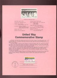 USPS Souvenir Page 87-14   2275      22c United Way 87-14