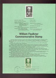 USPS Souvenir Page 87-24   2350      22c William Faulkn 87-24