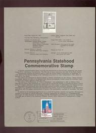 USPS Souvenir Page 87-28   2337      22c Pennsylvania 87-28