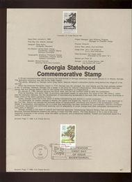 USPS Souvenir Page 88-1   2339      22c Georgia Stateh 88-1