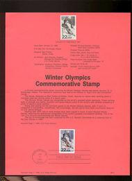 USPS Souvenir Page 88-3   2369      22c Winter Olympic 88-3