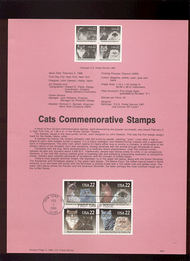USPS Souvenir Page 88-6   2375a     22c Cats(4)-w/o Wm 88-6