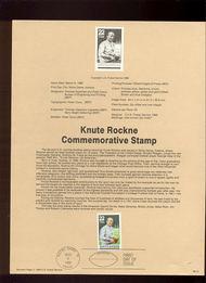 USPS Souvenir Page 88-10   2376      22c Knute Rockne 88-10