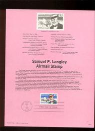 USPS Souvenir Page 88-19   C118      45c Samuel Langley 88-19