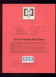 USPS Souvenir Page 88-19A  O138B     20c Official Coil  88-19A
