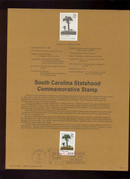 USPS Souvenir Page 88-21   2343      25c South Carolina 88-21