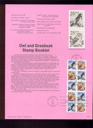 USPS Souvenir Page 88-22   2285b     25c Owl & Grosbeak 88-22