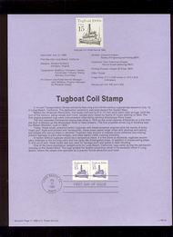 USPS Souvenir Page 88-34   2257      15c Tugboat Coil ( 88-34