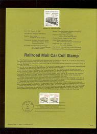 USPS Souvenir Page 88-39   2265      21c RR Mail Car (2 88-39