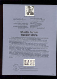 USPS Souvenir Page 88-51   2180      21c Chester Carlso 88-51