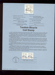USPS Souvenir Page 88-54   2266      24.1c Bicycle (2) 88-54