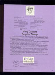 USPS Souvenir Page 88-57   2182      23c Mary Cassatt 88-57