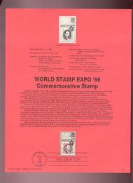 USPS Souvenir Page 89-7   2410      25c Stamp EXPO '89 89-7