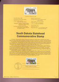 USPS Souvenir Page 89-12   2416      25c South Dakota 89-12