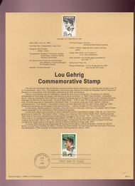USPS Souvenir Page 89-15   2417      25c Lou Gehrig 89-15