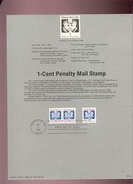 USPS Souvenir Page 89-16   O143      1c Official Mail 89-16