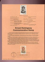USPS Souvenir Page 89-18   2418      25c Ernest Hemingw 89-18