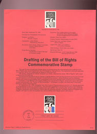 USPS Souvenir Page 89-23   2421      25c Bill of Rights 89-23