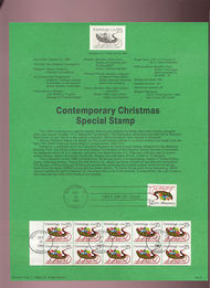 USPS Souvenir Page 89-27   2428/2428a   25c Christmas-Cont 89-27
