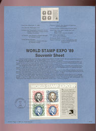 USPS Souvenir Page 89-29   2433      $3.60 EXPO 89 SS 89-29