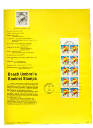 USPS Souvenir Page 90-5   2443      15c Beach Umbrella 90-5