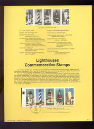 USPS Souvenir Page 90-11   2470-4     25c Lighthouse, Bl 90-11