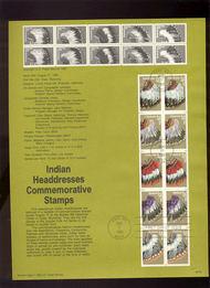 USPS Souvenir Page 90-16   2501-5     25c Headdress Pane 90-16