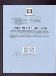 USPS Souvenir Page 91-5   O144      (29c) F Official 91-5