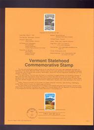 USPS Souvenir Page 91-8   2533      29c Vermont Stateh 91-8