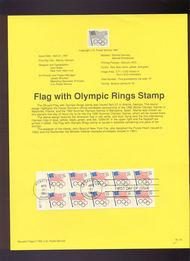 USPS Souvenir Page 91-16   2528      29c Flag, Olympic  91-16