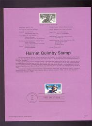 USPS Souvenir Page 91-17   C128      50c Harriet Quimby 91-17