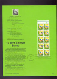 USPS Souvenir Page 91-20   2530      19c Baloon Booklet 91-20