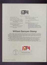 USPS Souvenir Page 91-22   2538      29c William Saroya 91-22
