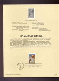 USPS Souvenir Page 91-37   2560      29c Basketball 91-37