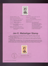 USPS Souvenir Page 91-52   2567      29c Jan Matzelinge 91-52
