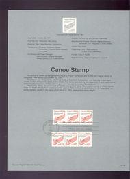 USPS Souvenir Page 91-58   2454      5c Canoe Coil 91-58