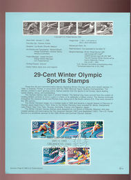 USPS Souvenir Page 92-1   2611-5     29c Winter Olympic 92-1