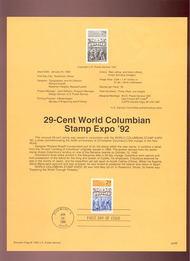 USPS Souvenir Page 92-2   2616      29c Columbian Exp 92-2