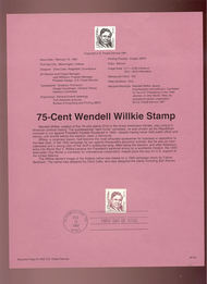 USPS Souvenir Page 92-5   2193      75c Wendell Willki 92-5