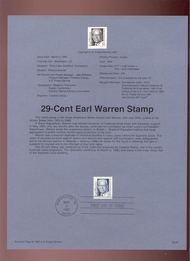 USPS Souvenir Page 92-7   2184A     75c Earl Warren 92-7