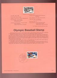 USPS Souvenir Page 92-8   2619      29c Olympic Baseba 92-8
