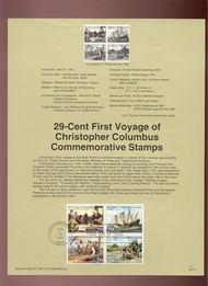 USPS Souvenir Page 92-10   2620-3     29c Columbus 92-10