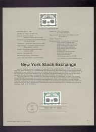 USPS Souvenir Page 92-11   2630      29c N Y Stock Exch 92-11