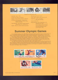 USPS Souvenir Page 92-21   2637-41    29c Summer Olympic 92-21