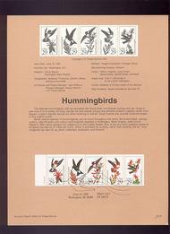 USPS Souvenir Page 92-22   2642-6     29c Hummingbirds B 92-22
