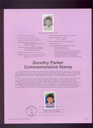 USPS Souvenir Page 92-30   2698      29c Dorothy Parker 92-30