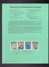 USPS Souvenir Page 92-33   2700-3     29c Mierals Strip  92-33