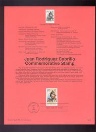 USPS Souvenir Page 92-35   2704      29c Juan Cabrillo 92-35
