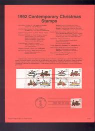 USPS Souvenir Page 92-38   2711-9     29c Chrisrtmas Toy 92-38
